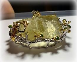 'Frog in the Pond' Huge Citrine Crystal Chrome Diopside Sterling Silver 14k