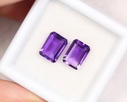 2.48cts Pair of Purple Amethyst / Emerald Cut