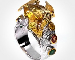 Elvish Citrine Sapphire Emerald Ring Size 6.5 Sterling Silver 14kt Gold