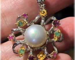Pearl, Emerald Rhodolite Garnet 14kt Yellow Gold .925 Sterling Silver Penda