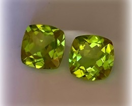 STUNNING PERIDOT PAIR - JEWELLERY GRADE GEMS 7.00MM EACH