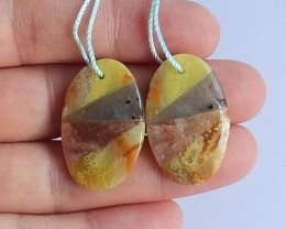 28.5ct Natural yellow opal ,labradorite ,sunstone intarsia earrings   (1809