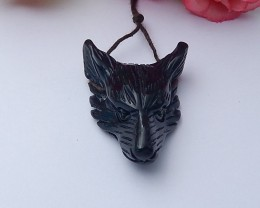 45ct Natural obsidian wolf head pendanat customized jewelry  (18091248)