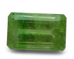 3.05 ct Emerald Cut Green Grossularite / Tsavorite Garnet