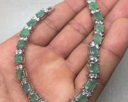 (B4) Stunning Nat 73.70tcw. Brazilian Emerald & CZ Bracelet