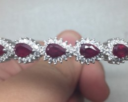 (B) Fascinating Nat 69.6tcw. Top Blood Red Ruby And CZ Bangle