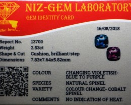 2.53 cts certified color change cobalt Sri Lankan spinel.