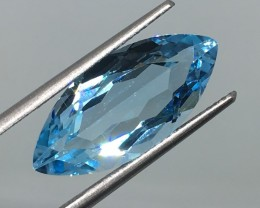 8.00 Carat VVS Topaz Swiss Blue Marquise - Beautiful Clarity and Quality !