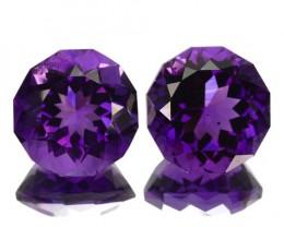 ~PAIR~ 8.42 Cts Natural AAA Purple Amethyst Fancy Cut Bolivia