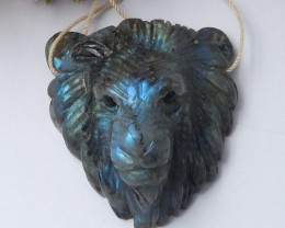 225ct Natural labradorite carved lion pendant bead (18091264)
