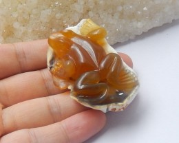 146.5ct Natural agate carved frog cabochon bead  (18091268)
