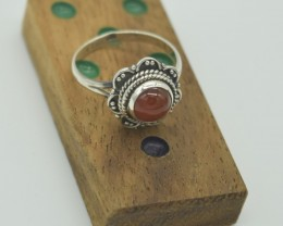 CERTIFIED NATURAL UNTREATED CARNELIAN RING 925 STERLING SILVER JE998