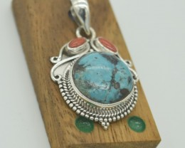CERTIFIED NATURAL UNTREATED TURQUOISE  PENDANT 925 STERLING SILVER JE999