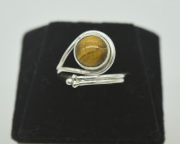 CERTIFIED NATURAL UNTREATED TIGER EYE RING 925 STERLING SILVER JE1001