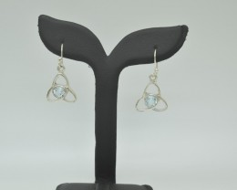 CERTIFIED NATURAL UNTREATED BLUE TOPZ EARRINGS 925 STERLING SILVER JE1003