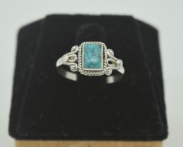 CERTIFIED NATURAL UNTREATED TURQUOISE RING 925 STERLING SILVER JE1004