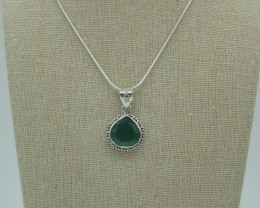 CERTIFIED NATURAL UNTREATED GREEN ONYX PENDANT 925 STERLING SILVER JE1005