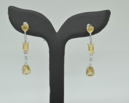 CERTIFIED NATURAL UNTREATED CITRINE EARRINGS 925 STERLING SILVER JE1006