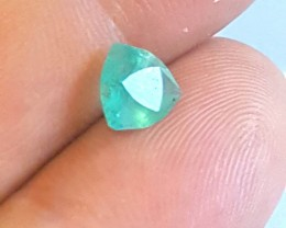 Emerald - 1.05 CTS - Trillion Fancy cut - Green bluish - Oiled - Brazil
