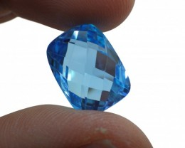 17 ct 16x12 mm Cushion-Checkerboard Cut Sky Blue Topaz - $1 No Reserve Auct