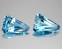 ~PAIR~ 6.14 Cts Natural Sky Blue Topaz Fancy Cut Brazil
