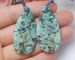 Free shipping 58ct Natural african turquoise  earring beads (18091271)