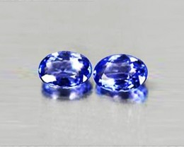 1.93 tcw Dazzling Bright IF Clarity Natural Tanzanite Pair Certified