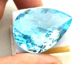 79.35 Carat Fantastic Certified Pear Checkerboard Cut Sky Blue Topaz