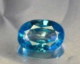 GGL Certified ~ 3.30 ct Natural Blue Zircon From Cambodia