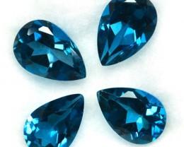 6.74 Cts Natural London Blue Topaz 4Pcs Pear SET Brazil