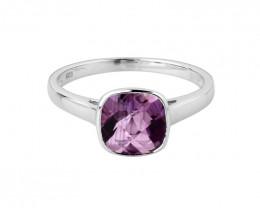 Checkerboard Amethyst 925 Sterling silver ring #36644