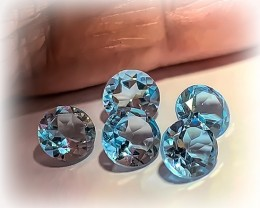 5 PC PARCEL OF TOP JEWELLERY GRADE TOPAZ GEMS VVS 6MM