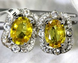 9.90-CTS  YELLOW SAPPHIRE EARRING BLUE AND WHITE  SG-2745