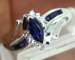 14.40-CTS  BLUE SAPPHIRE RING BLUE AND WHITE  SG-2748