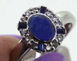 12.20-CTS  BLUE SAPPHIRE RING BLUE AND WHITE  SG-2749