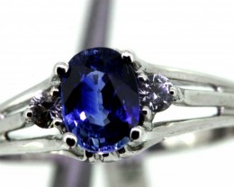 11.80-CTS  BLUE SAPPHIRE RING BLUE AND WHITE  SG-2751