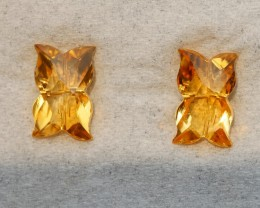 2.75 CRT GOLDEN PAIR CARVING YELLOW CITRINE-
