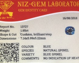 1.67 cts certified Sri Lankan no heat spinel.