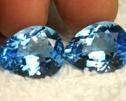 38.16 Tcw. Matched Blue Brazil VVS Topaz Pears - Gorgeous