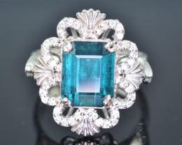 Gorgeous Design 29.40 Ct Indicolite Tourmaline Silver Ring
