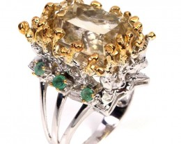 Huge Citrine Emerald Cocktail ring .925 Sterling Silver with 14kt Gold