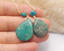 28ct Natural turquoise nugget  earring beads customized jewelry  (18091312)