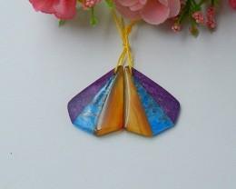 255ct Natural agate ,apatite ,purple stone intarsia  earring beads   (18091