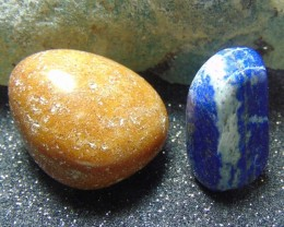 Lapiz luzili-golden quartz  Tumble stones cabochons 128.15 cts