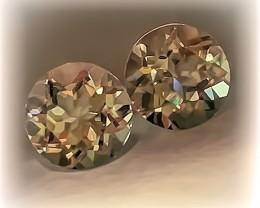Glittering Silver White Topaz Pair 8.0mm VVS gems - NR