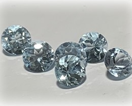 6 PC PARCEL OF TOP JEWELLERY GRADE TOPAZ GEMS VVS 5MM