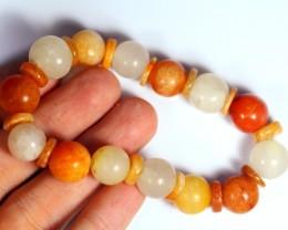 186.5Ct Natural Grade A Mixed Color Jadeite Jade Bracelet