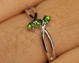 Natural Chrome Diopside Silver Ring Size (5.5) 0218