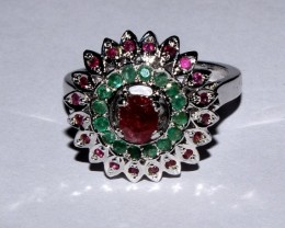 Natural Ruby Emerald Silver Ring Size (10) 0019