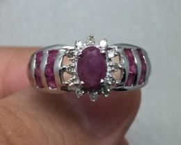 (B3) Stunning $1100 Nat 0.90tcw. Ruby and Diamond 10K WG